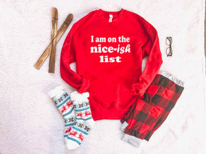 Nice-ish list sweatshirt Holiday French Terry raglan Lane seven unisex sweatshirt S Red