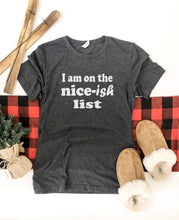 Nice-ish list tee Short sleeve holiday tee Bella Canvas 3001 XS Charcoal