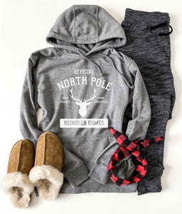 North Pole french terry hoodie Holiday hoodie lane seven french terry hoodie XS Heather grey