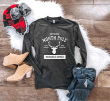 North Pole long sleeve tee Long sleeve holiday tee Next level unisex long sleeve S Charcoal