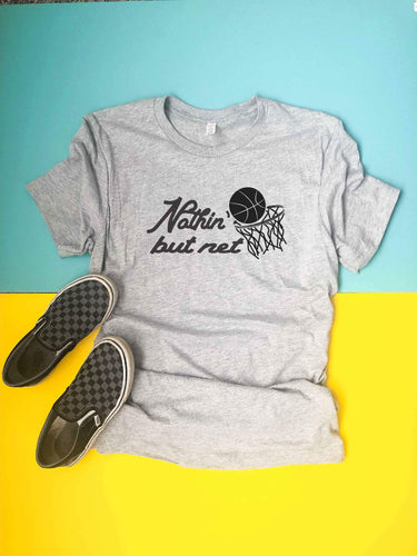 Nothin' but net- kids tee Short sleeve basketball tee Next Level 3310 kids tee heather grey
