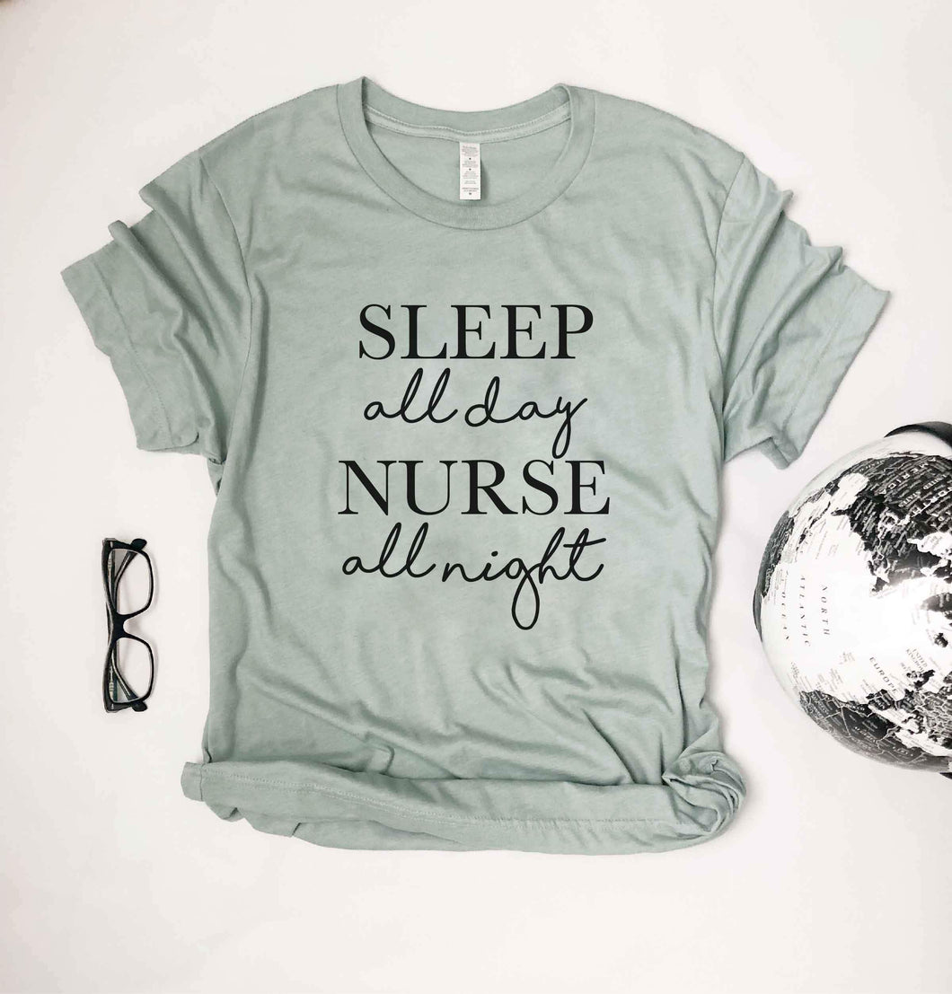 Nurse all night tee Short sleeve nurse tee Bella Canvas 3001