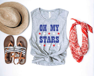 Oh my stars women's muscle tank Patriotic tank Bella canvas 6003 heather grey