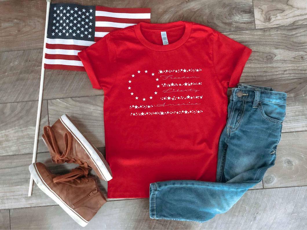 Old Glory kids tee Short sleeve patriotic kids tee Bella canvas 3001y