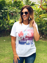 Palm trees and ocean breeze Short sleeve summer tee Bella Canvas 3001 white