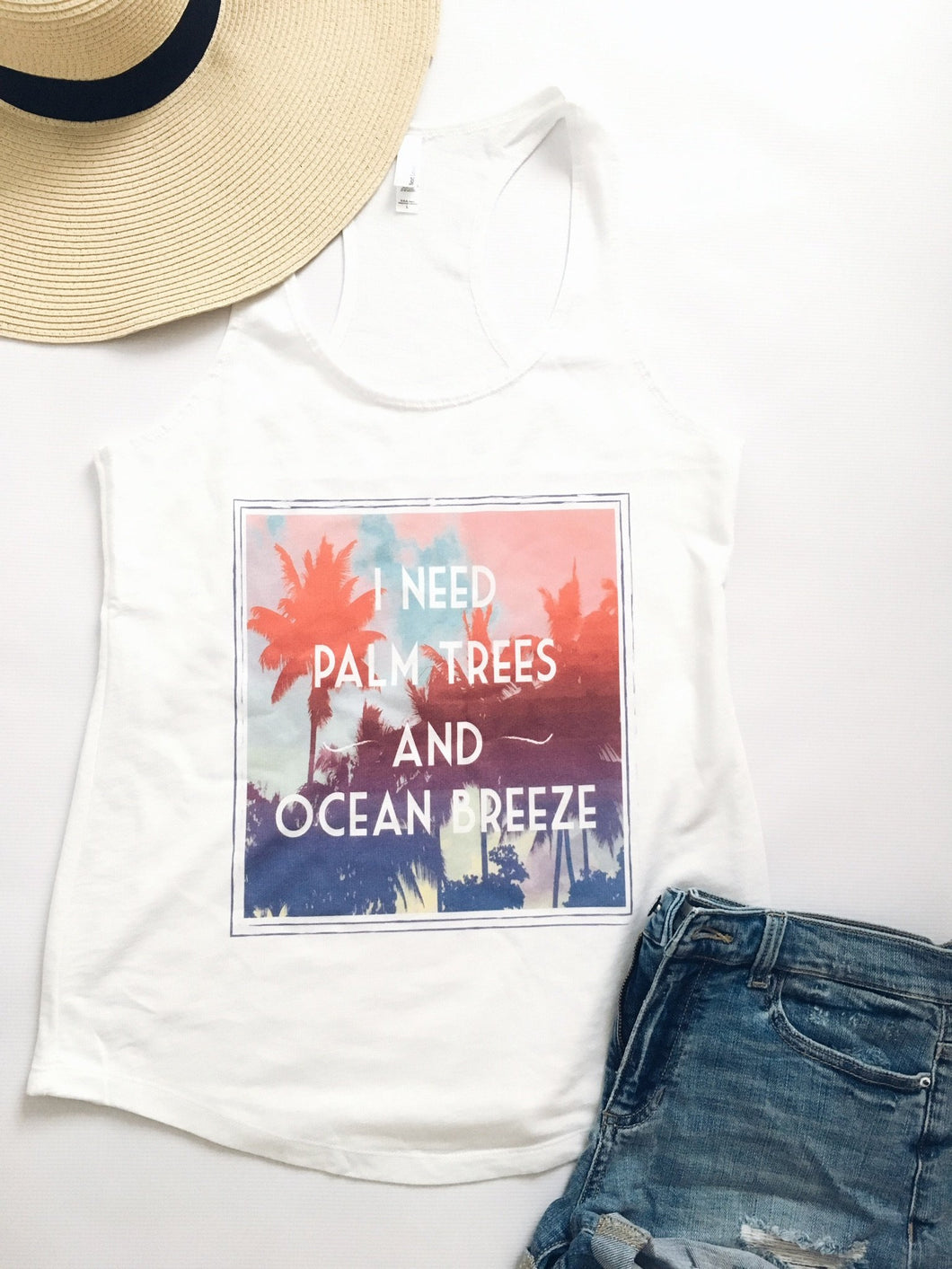 Palm trees and ocean breeze tank Short sleeve summer tank Next Level 1533 tank white