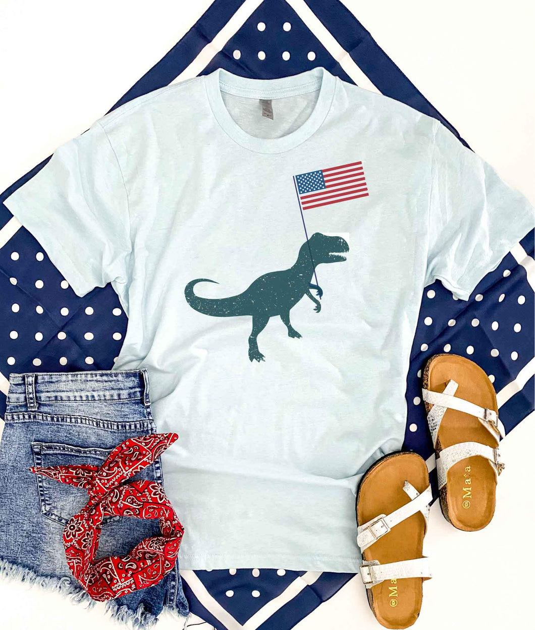Patriotic t-rex kids tee Short sleeve patriotic kids tee Bella canvas 3001y