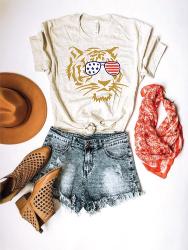 Patriotic tiger tee Short sleeve patriotic tee Bella Canvas 3001 XS Oatmeal