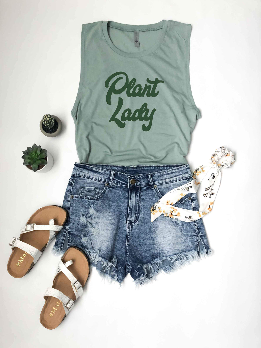 Plant lady unisex muscle tank Short sleeve miscellaneous tee Next level sage green unisex muscle tank