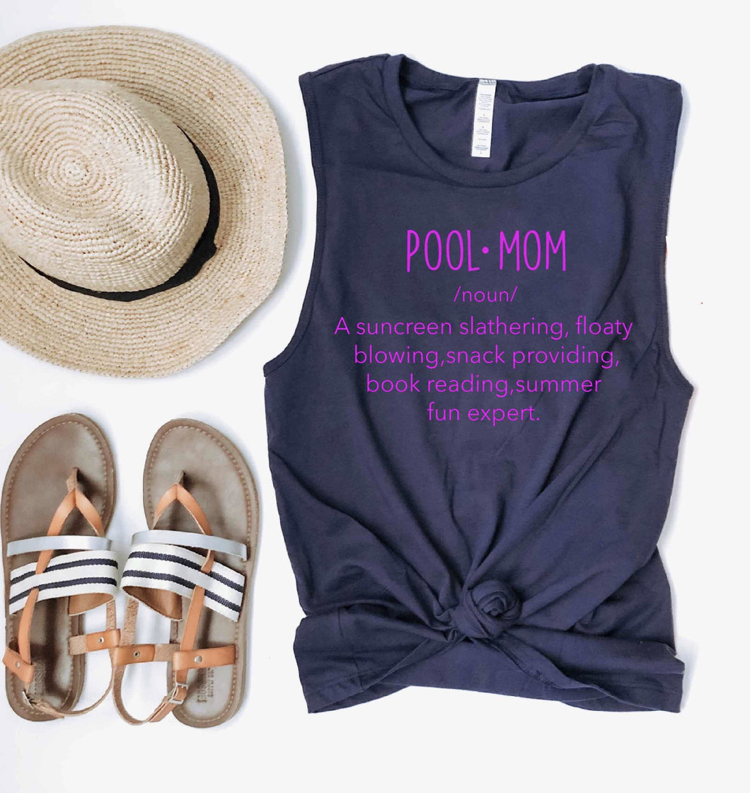 Pool mom unisex muscle tank Summer tank Bella Canvas 6003 navy