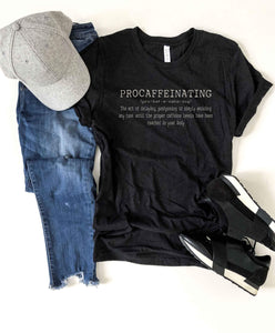 Procaffeinating crew neck tee Short sleeve miscellaneous tee Bella Canvas 3001 XS Black