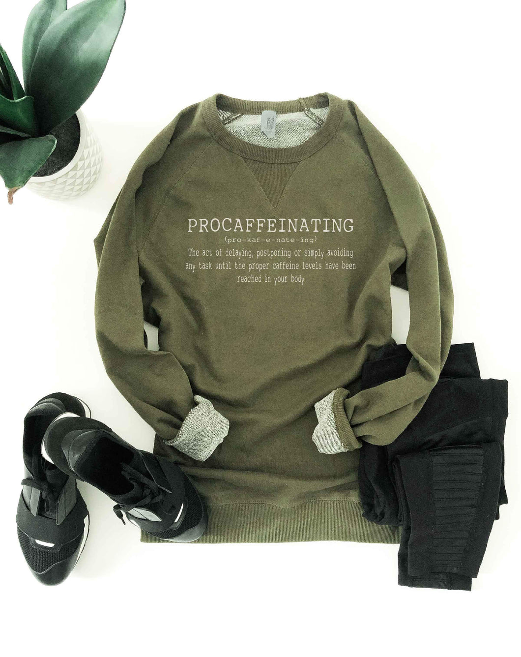Procaffeinating french terry raglan Miscellaneous French Terry raglan Cotton heritage and lane seven French Terry raglan XS Olive