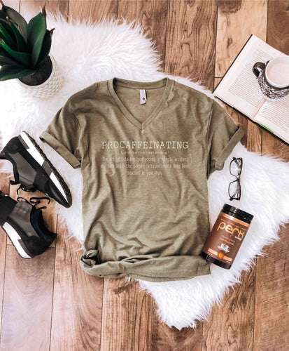 Procaffeinating vneck tee Short sleeve mom tee Bella Canvas 3005 heather olive