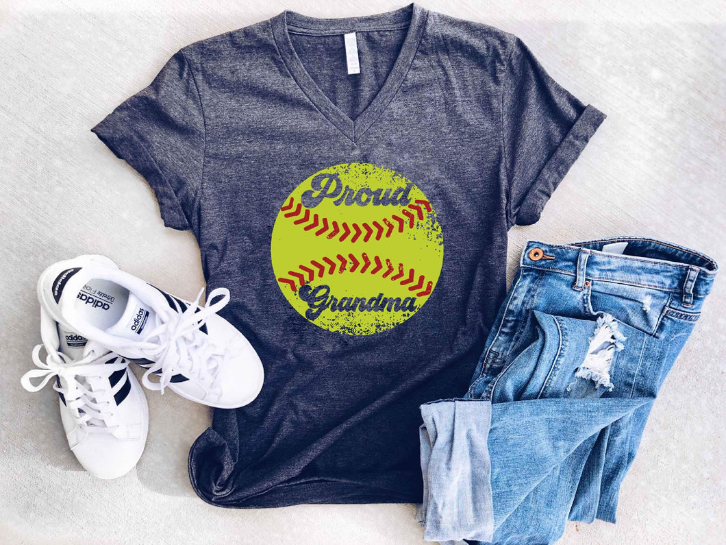Proud grandma softball tee Short sleeve grandma tee Bella canvas 3005 dark heather grey