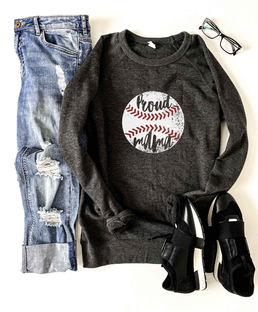 Proud mama baseball French Terry raglan sweatshirt Baseball french Terry raglan Lane seven French Terry raglan