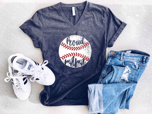 Proud mama baseball- vneck Short sleeve baseball tee Costa Threads
