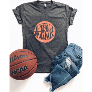 Proud Mama basketball- grey V-neck Short sleeve mom tee Bella canvas vneck dark heather grey