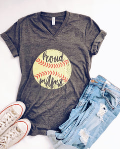 Proud mama- softball Short sleeve mom tee Bella canvas 3005 dark heather grey