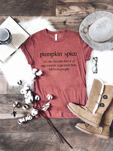 Pumpkin spice definition Short sleeve fall tee Bella Canvas 3001 heather rust