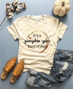 Pumpkin spice kind of day tee Short sleeve fall tee Bella Canvas 3001 heather oatmeal