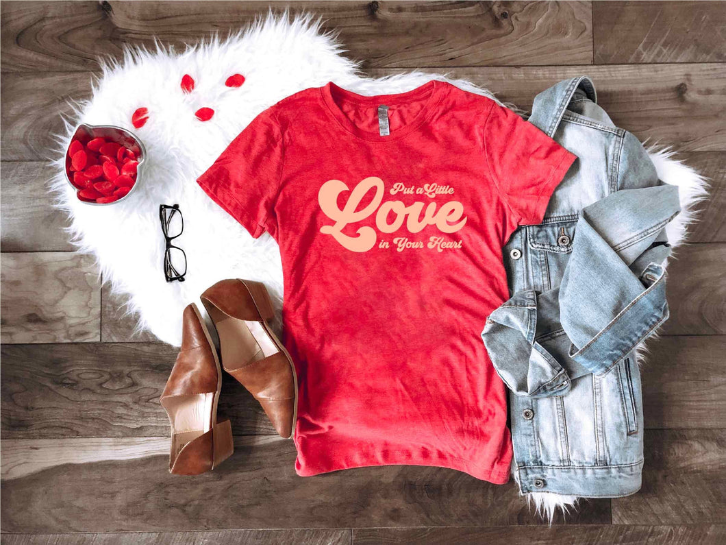 Put a little love in your heart Short sleeve valentines day tee Anvil 980 heather red