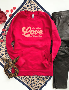 Put a little love pocket sweatshirt Holiday pocket sweatshirt Next level 9000