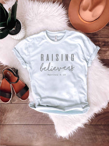 Raising believers Ice blue tee Short sleeve faith based tee Bella Canvas 3001 Ice Blue