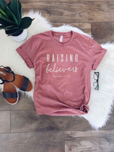 Raising believers tee Short sleeve faith based tee Bella Canvas 3001 black XS Mauve