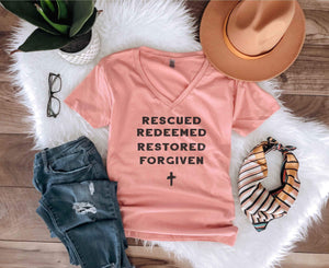 Rescued and Redeemed Short sleeve faith based tee Next level 3940 womens desert pink
