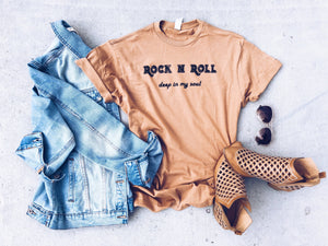 Rock n Roll tee Short sleeve miscellaneous tee Lane 7 15004 Camel