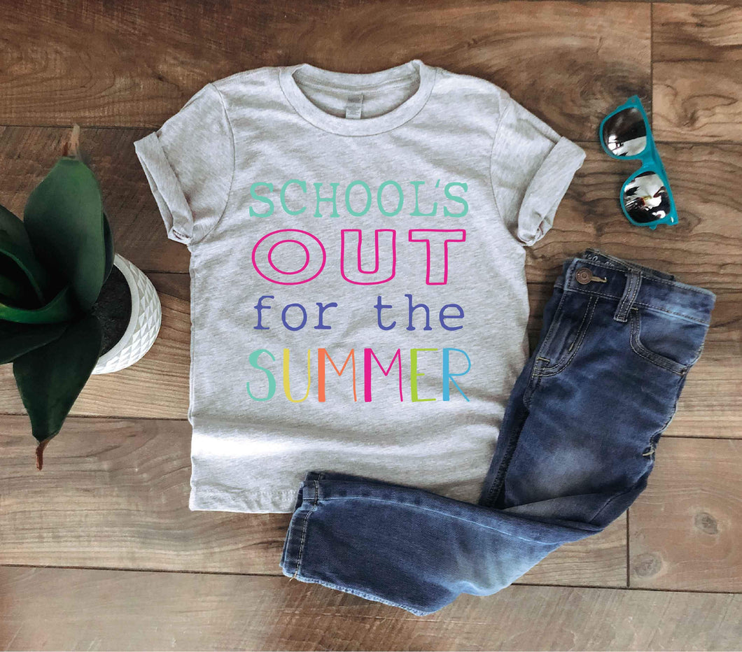 Schools out for summer kids and adult kids tee Kids Short sleeve tee Next level youth tee heather grey