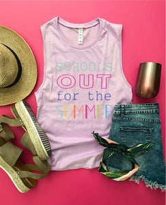School's out for summer women's muscle tank Summer tank Bella Canvas women's muscle tank