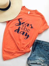 Seas the day- coral tee Short sleeve summer tee Bella Canvas 3001 Coral