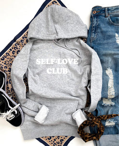 Self-love club fleece hoodie Miscellaneous hoodie Cotton heritage lightweight fleece and independent trading hoodie XS Athletic heather grey