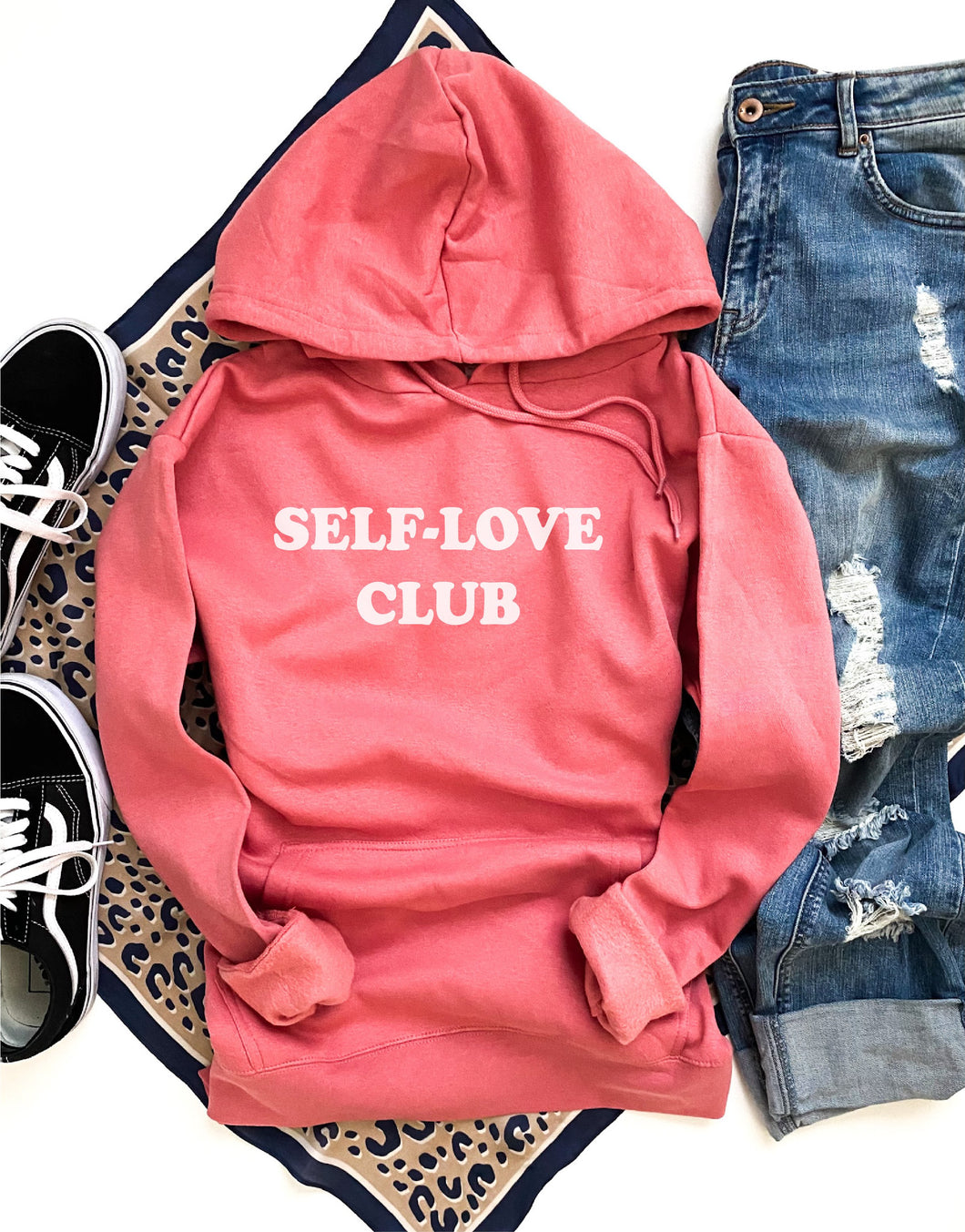 Self-love club fleece hoodie Miscellaneous hoodie Cotton heritage lightweight fleece and independent trading hoodie XS Coral