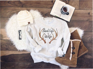 Shed life wife sweatshirt Hunting sweatshirt Lane seven unisex sweatshirt oatmeal