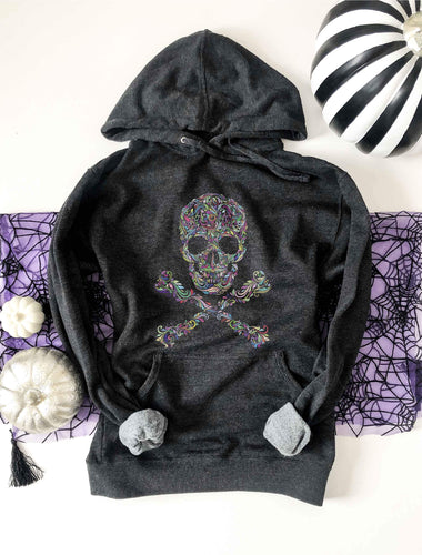 Skull french terry hoodie Halloween hoodie lane seven french terry hoodie
