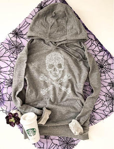 Skull french terry hoodie Halloween hoodie lane seven french terry hoodie XS Heather grey