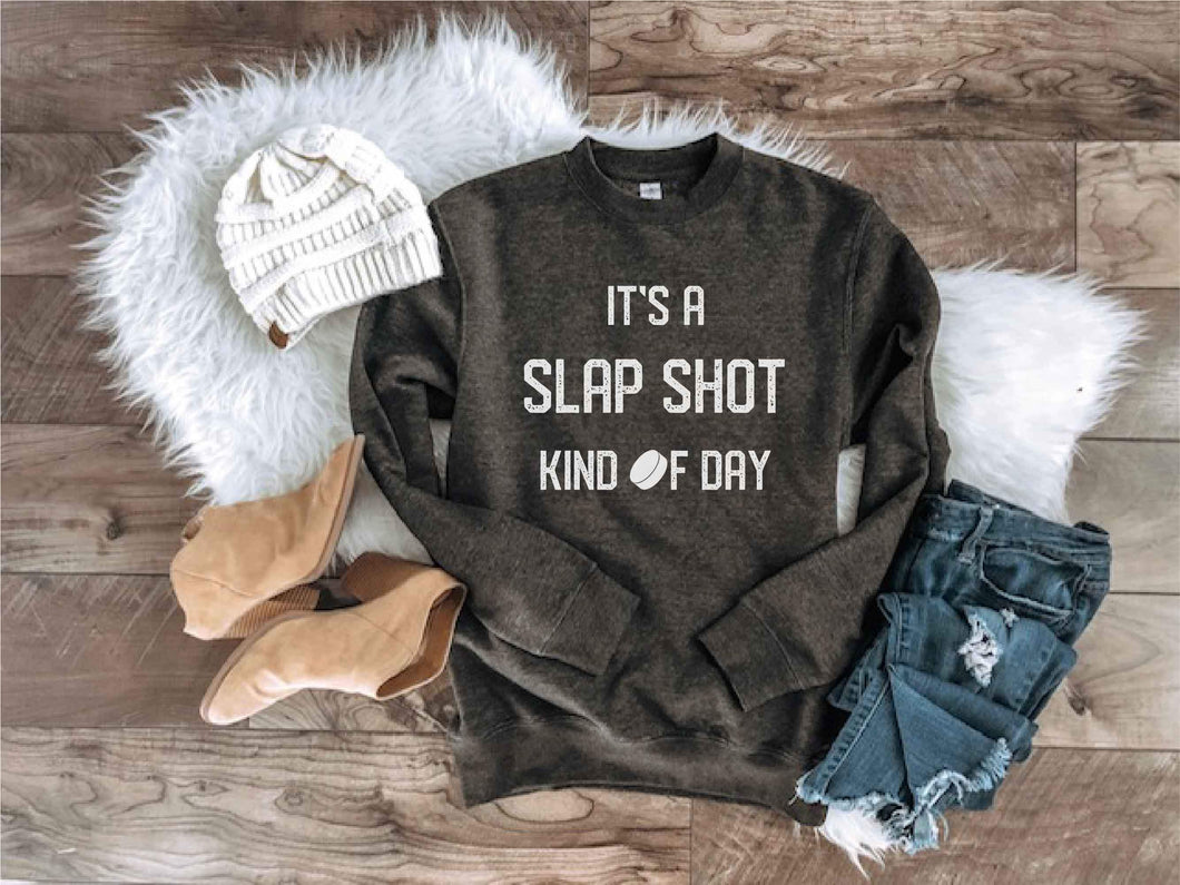 Slap shot kind of day sweatshirt Hockey sweatshirt Lane seven unisex sweatshirt charcoal