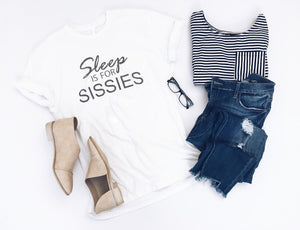 Sleep is for sissies Short sleeve tee Bella Canvas 3001 white and black