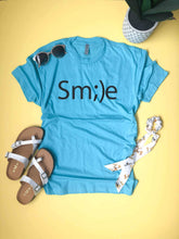 Smile tee Short sleeve inspirational tee Next Level 6210 Heather Grey S Tahiti blue