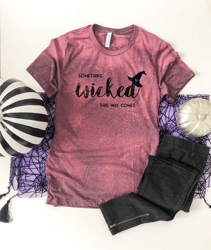 Something wicked bleached tee Fall bleached tee Bella canvas 3001 heather maroon bleached