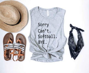 Sorry can't softball unisex muscle tank Baseball french Terry raglan Lane seven French Terry raglan