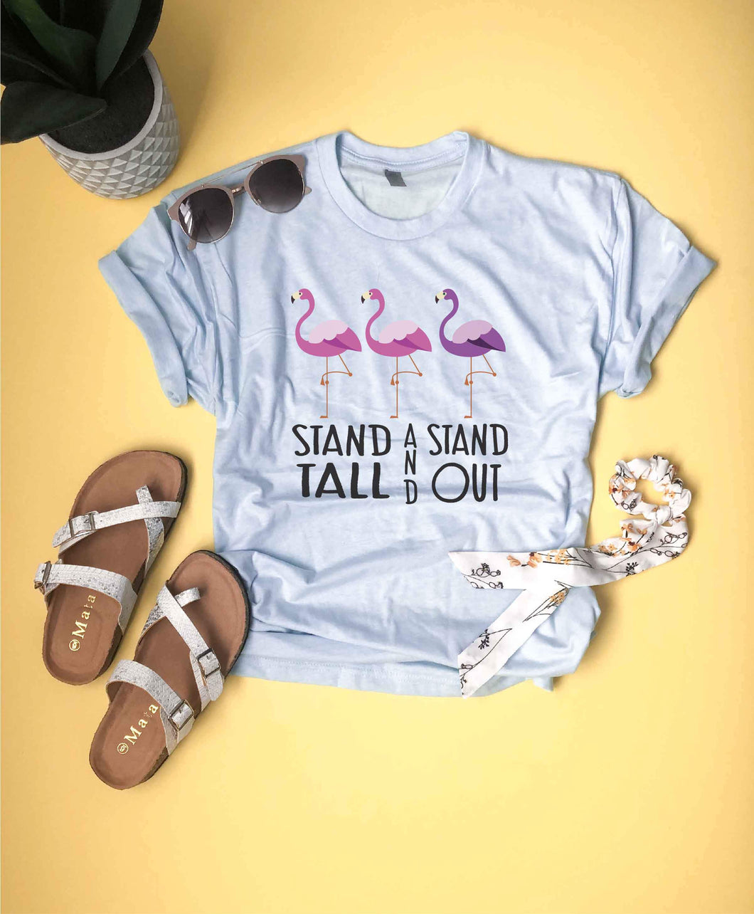 Stand tall and stand out kids tee Kids short sleeve inspirational tee Kids ice blue tee