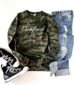 State script camo sweatshirt M State script sweatshirt Independent Trading company lightweight hoodie XS Maryland