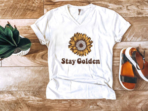 Stay Golden cream vneck Short sleeve miscellaneous tee Next Level 6240 cream