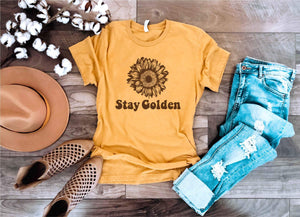 Stay golden mustard yellow tee Short sleeve miscellaneous tee Bella Canvas 3001 mustard