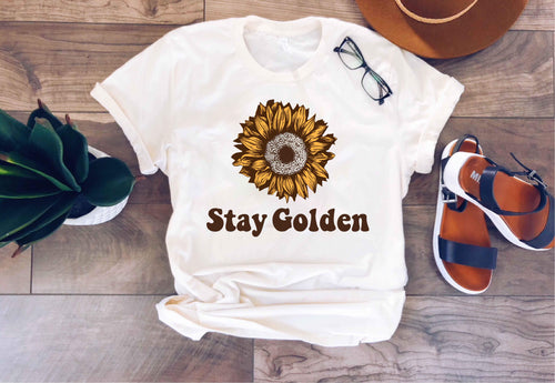 Stay Golden tee Short sleeve miscellaneous tee Bella Canvas 3001 XS Cream