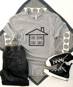 Stay home stay safe tee Short sleeve 2020 quarantine tee Bella Canvas 3001 XS Athletic heather grey