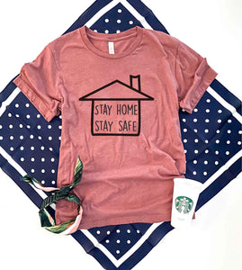 Stay home stay safe tee Short sleeve 2020 quarantine tee Bella Canvas 3001 XS Mauve